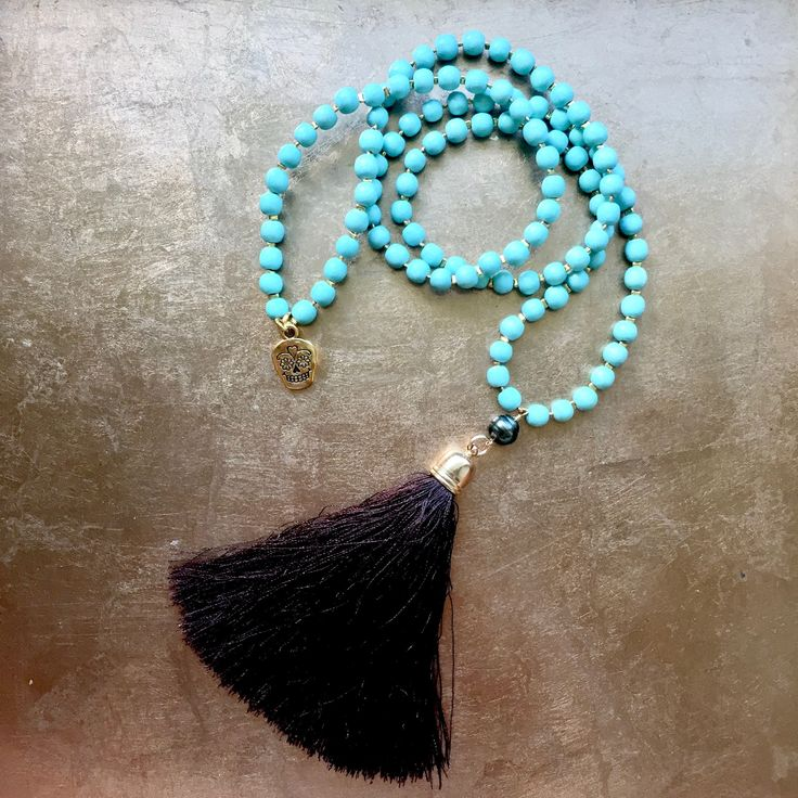 Tahitian Pearl Mala Style Tassel Necklace - Sea foam dyed wood beads - Candy skull charm - Maui inspired - Boho chic - Beach