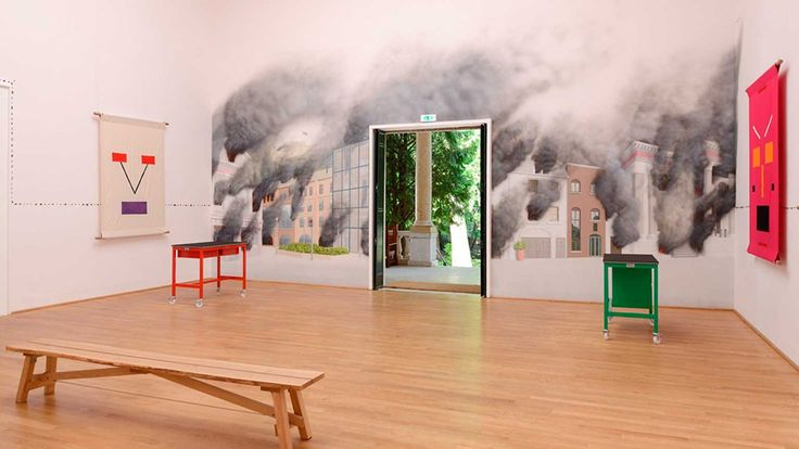 , . A Good Day for Cyclists, Jeremy Deller, 2013.  [real door, view or painted?]