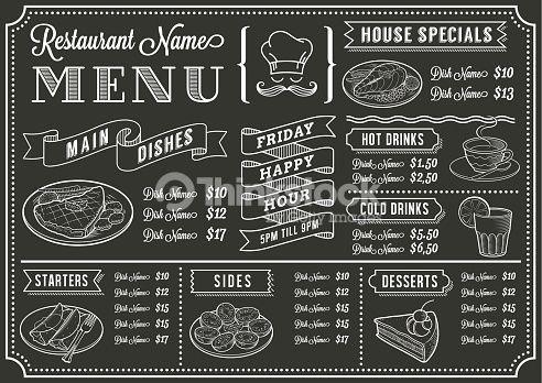 Clipart vectoriel : Tableau modèle de Menu de Restaurant