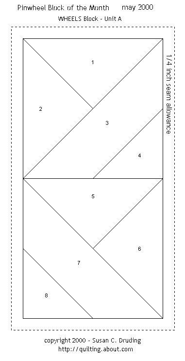 Free Quilt Patterns - Block of the Month Pinwheel WHEELS - paper foundation piecing pattern.