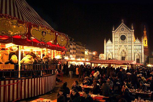 Santa Croce Church during Christmas Time Florence Italy