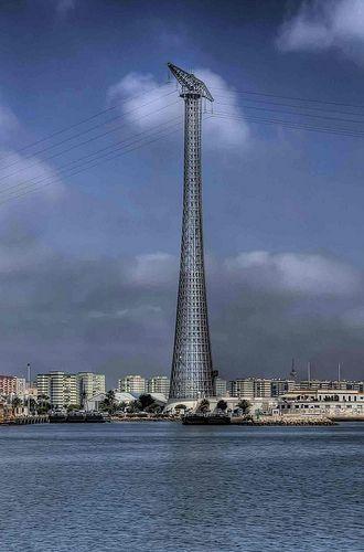 Tower gantry taking cables across the Bay of Cadiz, Cadiz, Spain