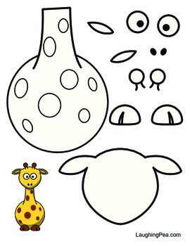 Coloring & Cutouts Set #3 - This one has a giraffe, hippo, owl, pig, and zebra.