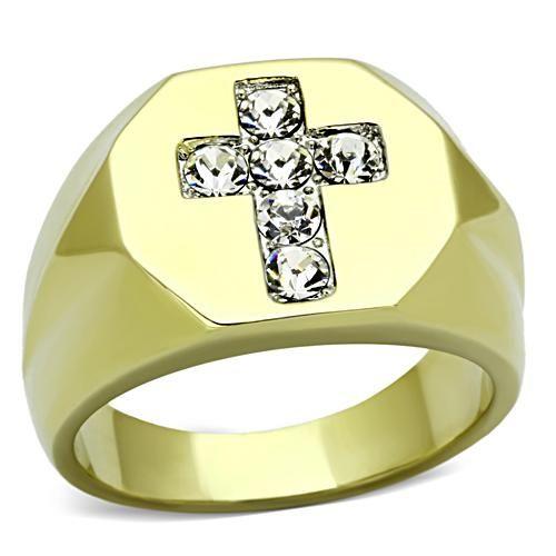Новинка 2014 полировать из нержавеющей стали святой крест мужчины кольцо горный хрусталь ионные ювелирных изделий размер 9,10, 11,12