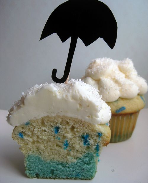 Rainy day cupcakes! Skip the umbrella topper