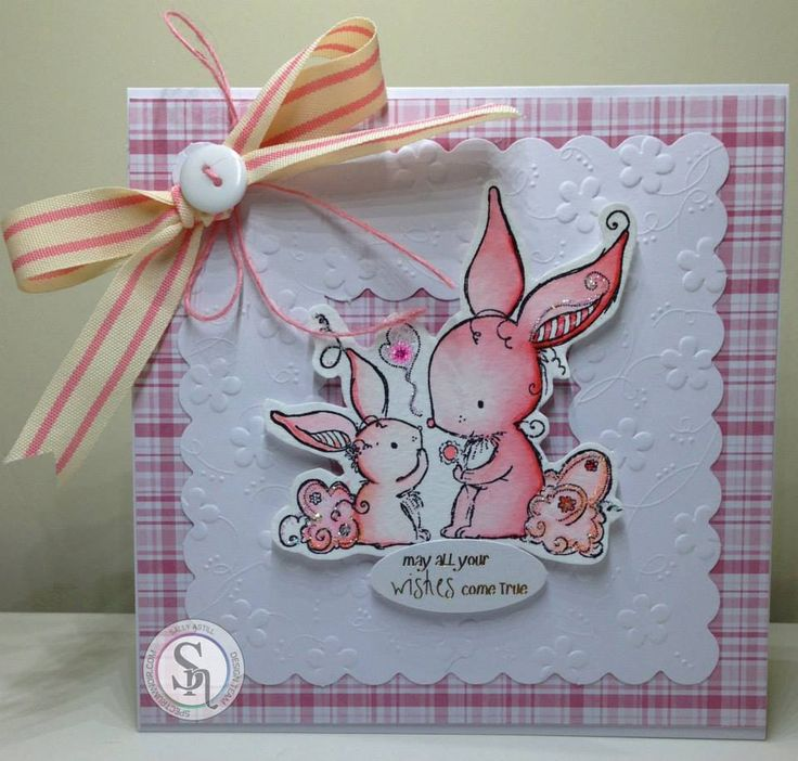 card by Sally Astill for #SpectrumNoir using #SpectrumAqua (Begonia and Blossom) and a @crafterscompuk stamp #bunnies #rabbits