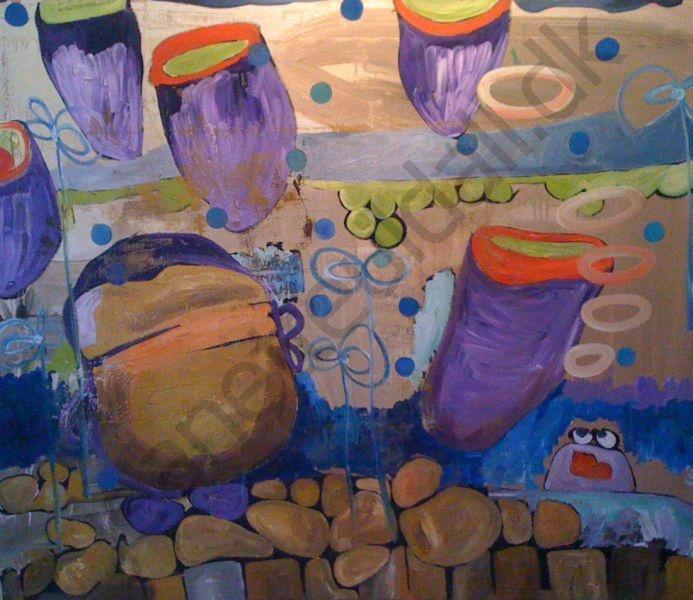 uden titel  Olie og acryl på lærred - 120 x 100 cm  -Jeanette Uldall