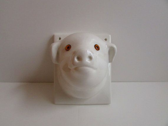 Kitchen decor vintage decor  pig wall hanging by MyShardsofGlass, $30.00