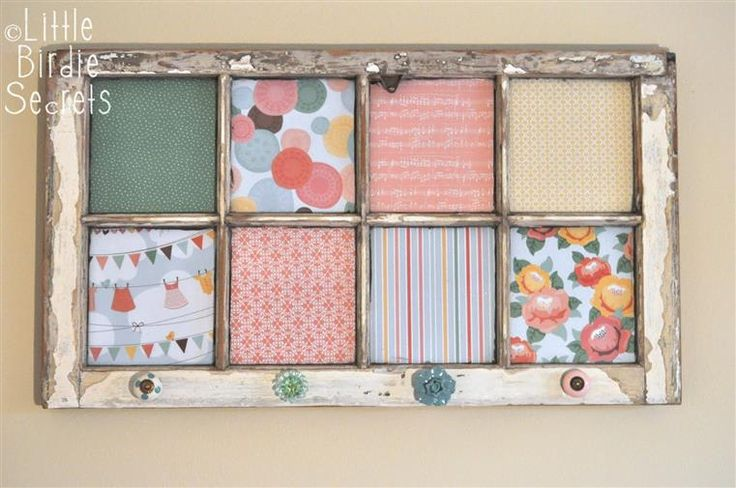 love the old worn frame with pops of new paper! this is the look for the shelving one
