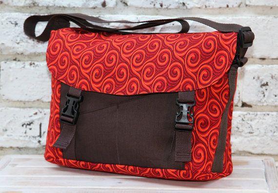 Messenger Bag African Shweshwe fabric  red by ChameleonGirlBags, $85.00
