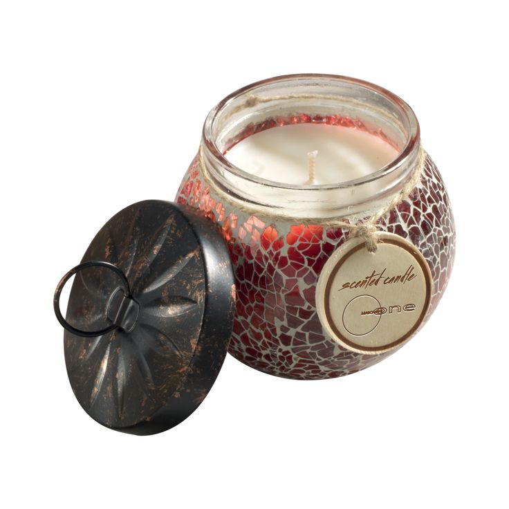 CANDELA PROFUMATA O919   Vasetto in vetro decorato con coperchio in metallo. 160gr. 6oz. Col.tortora = Amber & vanilla fragrance Col.rosa = Sandalwood rose fragrance Col.rosso = Frankincense & Myrrh fragrance