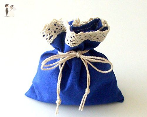 the Blue Rain - Set of 3 Gift Bags for all Celebrations - Blue Wedding Table Decor Tie Strings - Little Surprise Favors - Blue Cotton Fabric with Lace - Handmade Christmas Party Favor - Wedding favors (*Amazon Partner-Link)