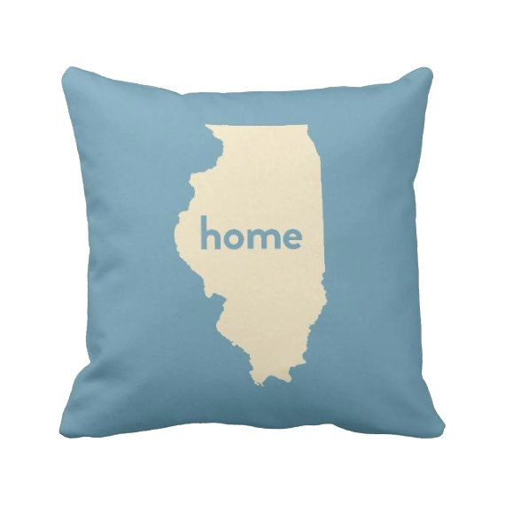 Illinois Pillow 16'' or 20'' Home Pillow State by laurenmaryHOME