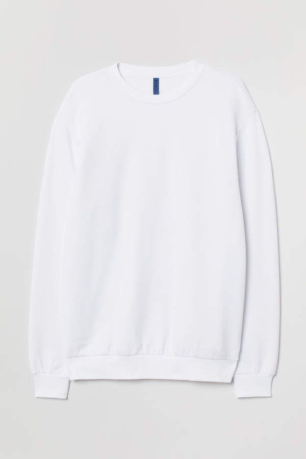 Download Relaxed Fit Sweatshirt White Men H M Us White Sweatshirt Sweatshirts Sweatshirt Fabric