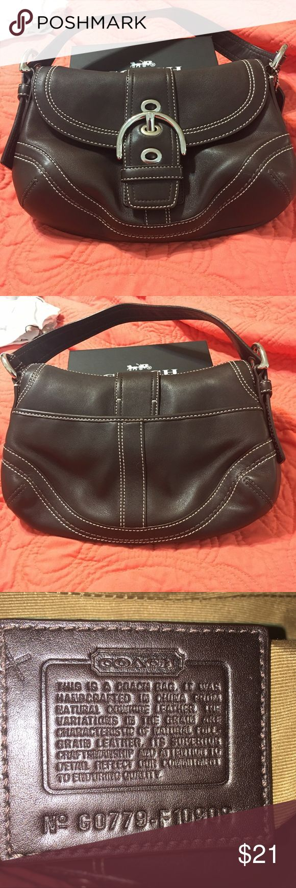 """Coach Hobo Bag - G0779-F-10909 Brand: Coach Material: Genuine Leather  Style: Hobo Hardware: Silver  Serial# G0779-F-10909 Slip pocket on back of bag Inside: 1 zipper pocket  Bag snaps closed  Bag is in excellent condition  H 7"""" x W 10"""" Drop 7"""" Coach Bags Hobos"""