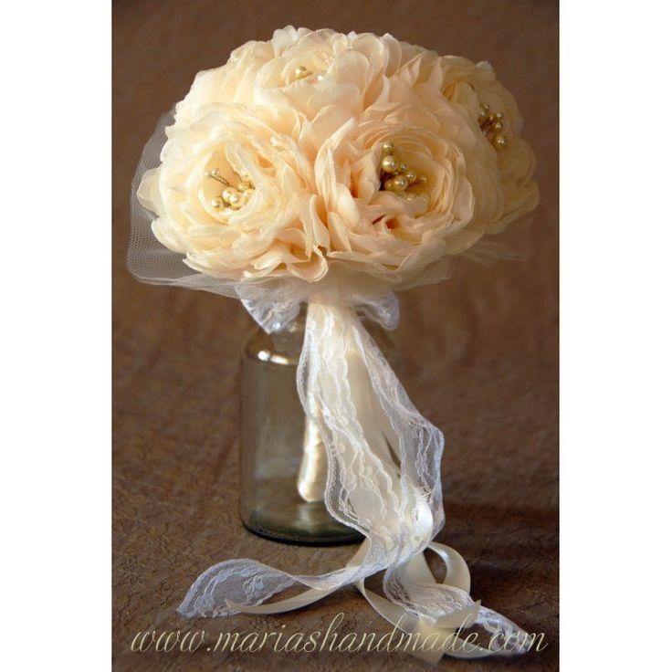 Fabric bridal bouquet, Wedding Bouquet, Custom order for Lia B. by M.aria's Handmade fabric bridal bouquets