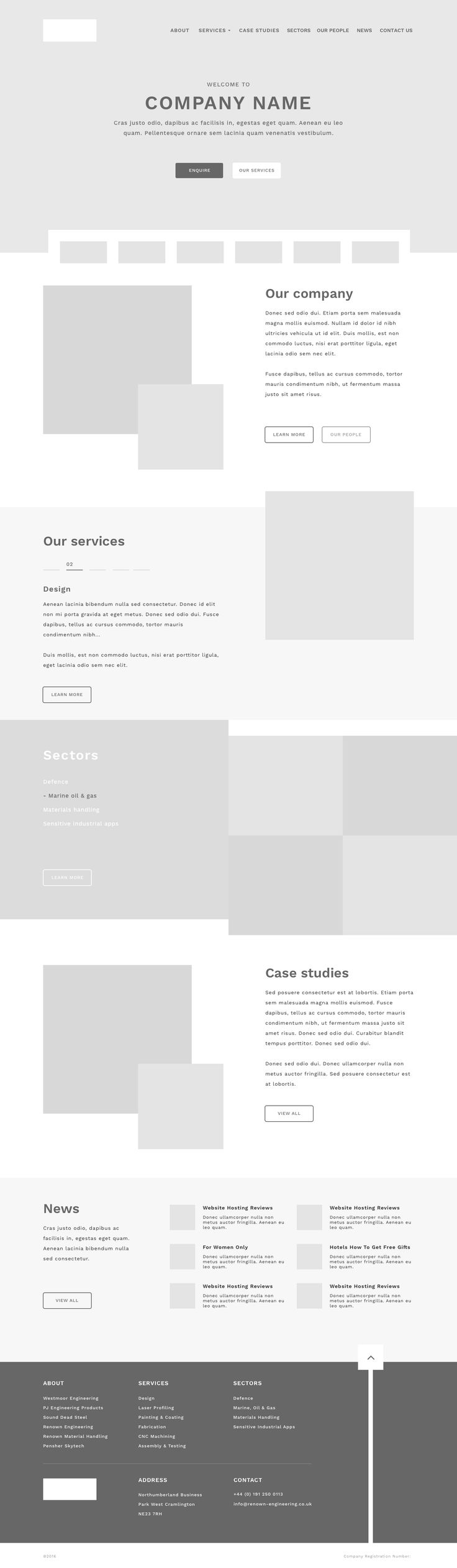 Renown wireframe homepage
