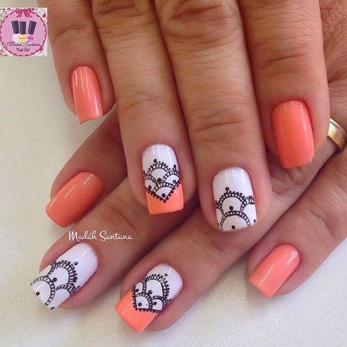 Soft Orange Nail Polish With White And Black Design