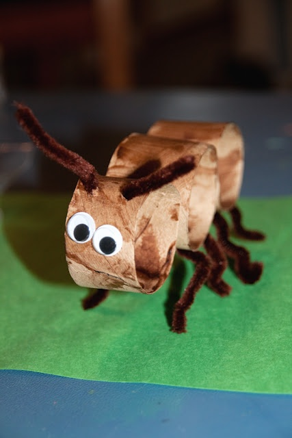 Ant project - toilet paper roll, pipe cleaners googley eyes
