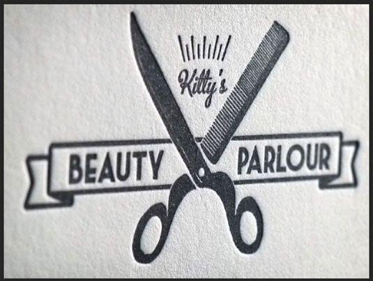 Letterpress business cards Kitty s Beauty Parlour