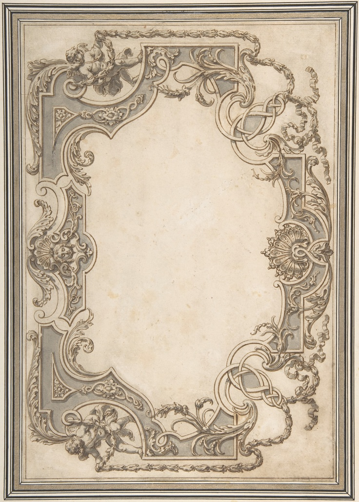 Design for a Ceiling Jean Berain (French, Saint-Mihiel 1640–1711 Paris) Date: n.d. Medium: Pen and brown ink with brush and grey wash Dimensions: 8 x 11 9/16in. (20.3 x 29.4cm) Classification: Drawings Accession Number: 64.530.3 Description Design for the decoration of a ceiling with a variation for the right side. Both sides of the design are in the style of the late Baroque and include decorative details such as putti, shells, palmettes, leaves, ribbons and garlands.