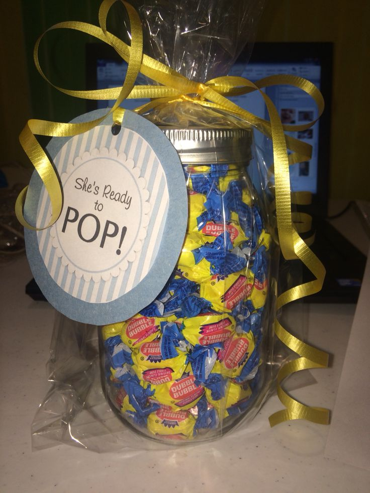 She's ready to pop! Inexpensive Baby Shower Game/Gift.  Guests guess the number the jar has of gum & whoever guesses the closest wins the jar!