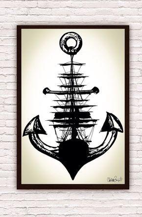Voilier w / ancre / / bateau nautique et ancre Art dessin / / Home Decor plage maison / / Poster Print