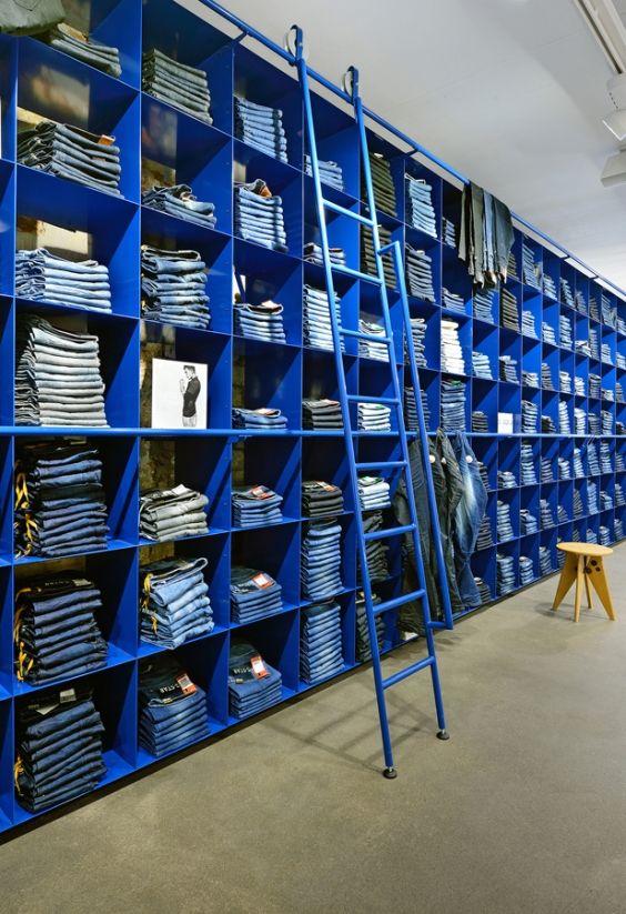 Blue Metal Grid of Blue Jeans | Retail Visual Merchandising & Storage