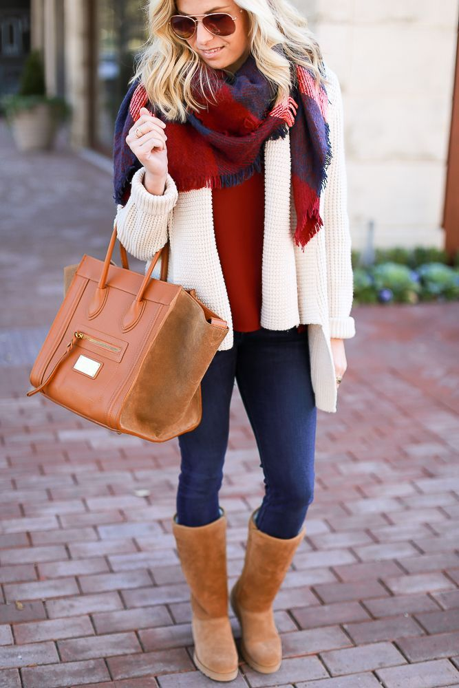 Ugg Boots One Small Blonde Blanket Scarf Casual Fall