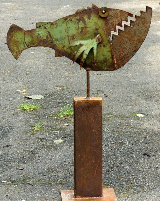 scrap metal sculpture by Chris Kircher I Skulpturen aus Schrott von Chris Kircher  fish, garden, art, steel sculpture