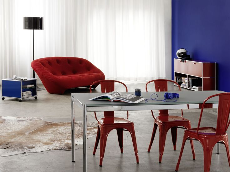 USM HALLER DINING TABLE Table réglable en hauteur by USM Modular Furniture design Fritz Haller