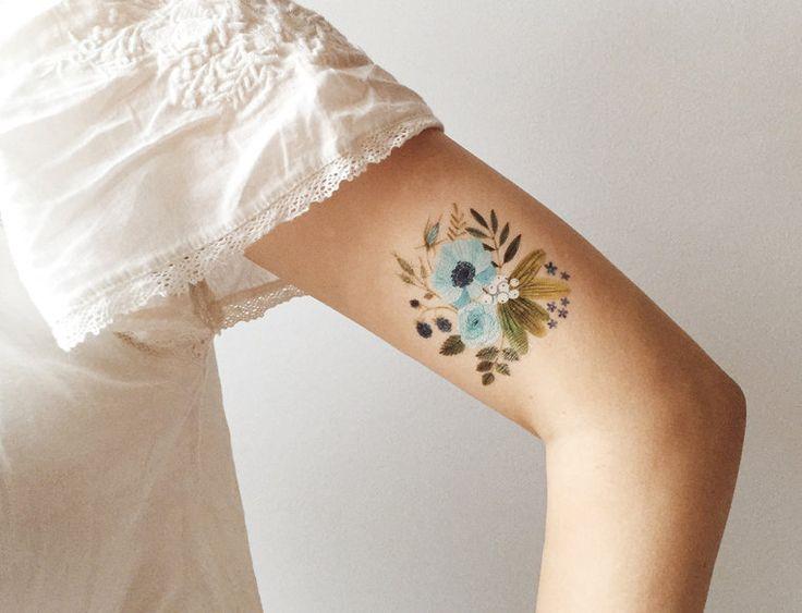 Tatuaggio temporaneo Flora blu di oanabefort su Etsy