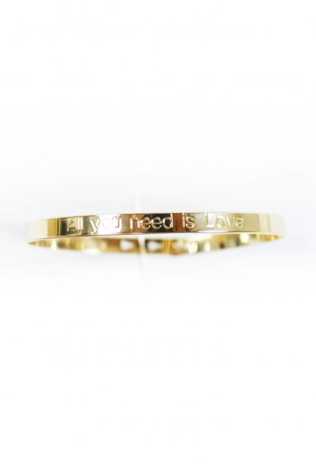 Bracelet jonc plaqué or 3 positions «All you need is love»