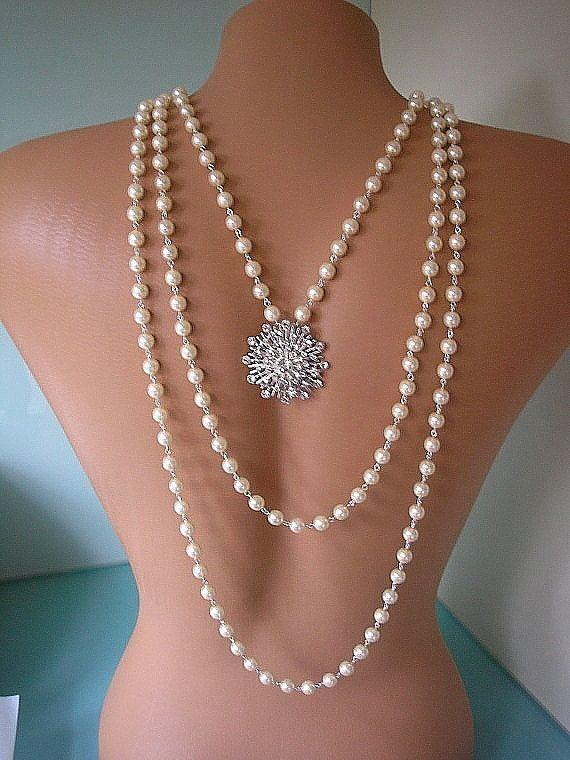 Perlenkette Hintergrund, Braut Hintergrund Halskette, Hochzeitsschmuck, Multistrand Perlenkette, Strass und Perlenschmuck, Art Deco   – Jewelry