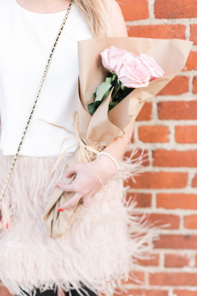 Valentine's Day date night outfit with pink roses on Rhyme & Reason.