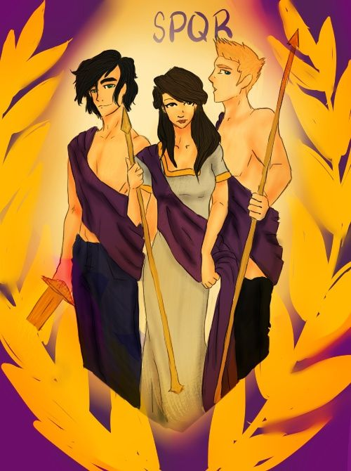 Percy Jackson, Reyna, and Jason Grace. ok guys the first thing I think when I see this picture is that Jason and percy do not have shirts on and im like dang no wonder they got all the girls!!!!!!