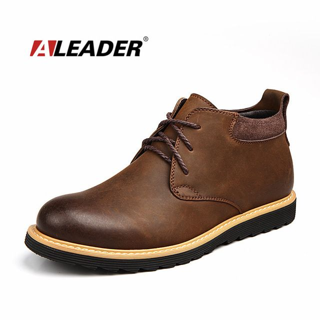 Deal Today $38.70, Buy Aleader Waterproof Men Boots Leather Men Shoes 2017 Casual Lace Up Ankle Boots Western Winter Fashion British Dress Boots Cowboy