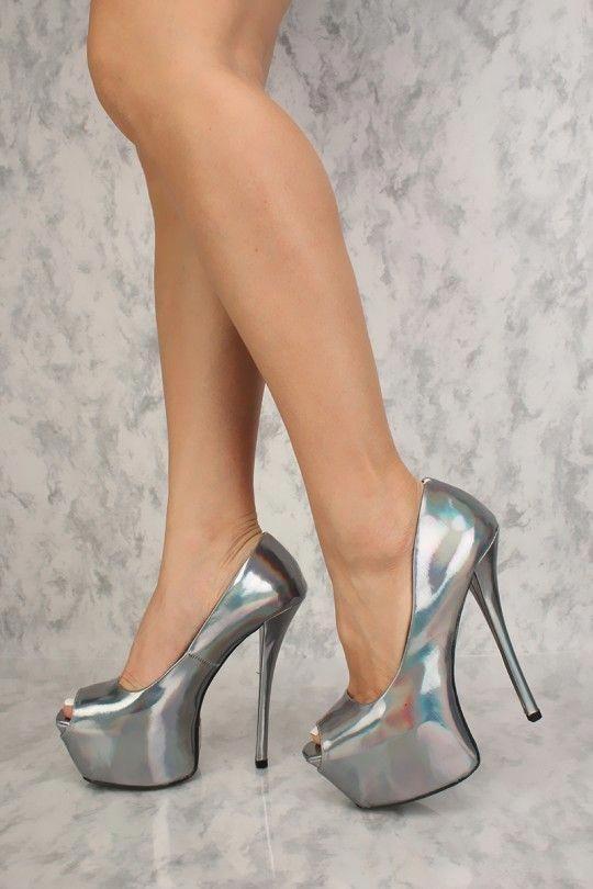 Sexy Pewter Hologram Peep Toe Platform High Heels  highheels highheels highheels   Damens c3bfb5