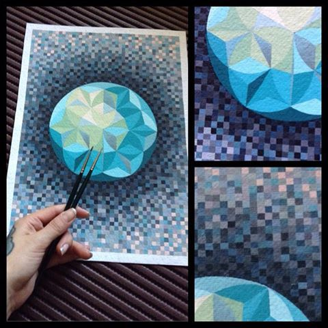 #modernart #art #acrylic #handdrawing #painting #geometricalart #xenijawo #xenijawotattoo #drawing #kunst #instaart  always when I think about this work, I can't understand, what it was: exercise on the sense of color or test of patience, because it's took really a lot of time. But as matter of fact, work like this help me to pull myself together and clean my mind. A3, each foursquare 0,5*0,5mm, acrylic