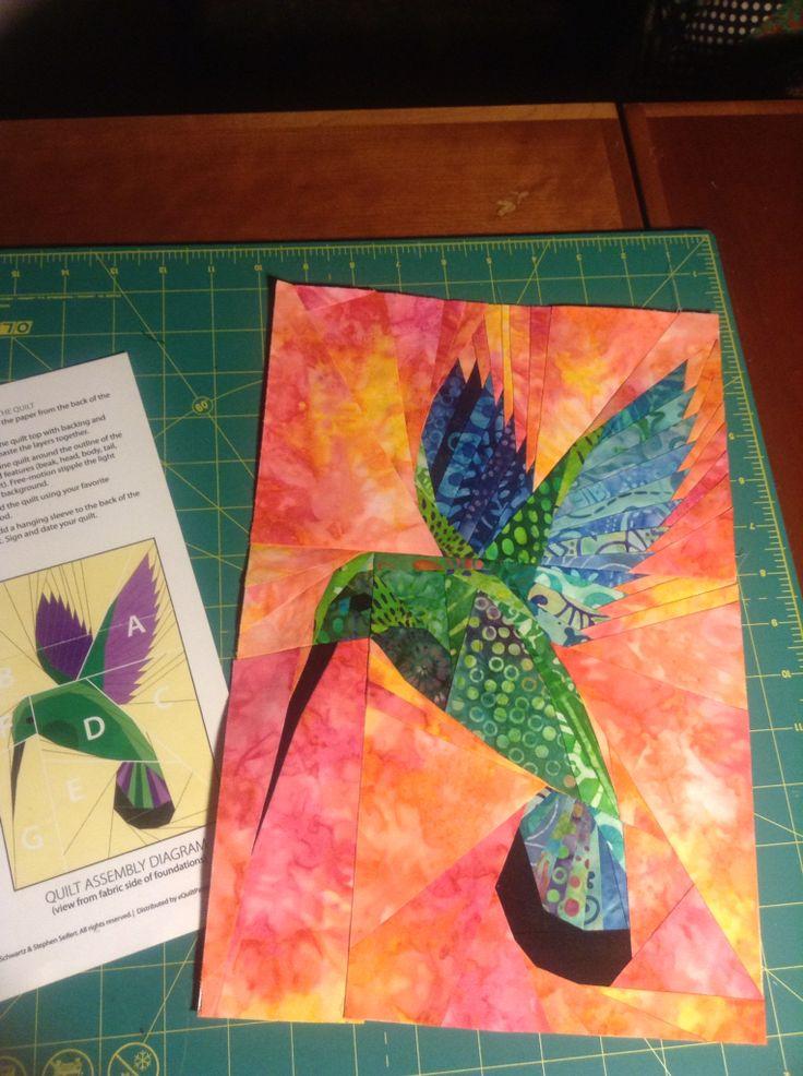 Paper Pieced Mango Hummingbird Quilt Pattern Batik