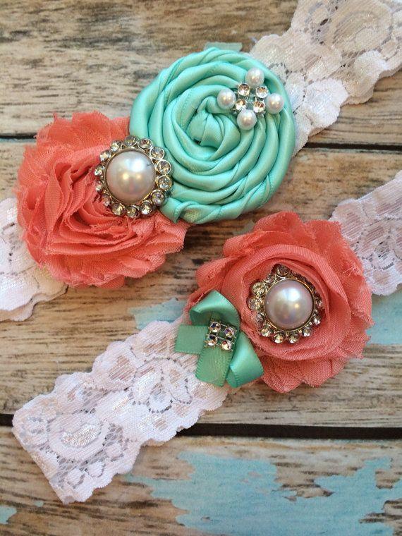 Wedding garter SET / Tiffany blue / Coral by FallenStarCoutureInc