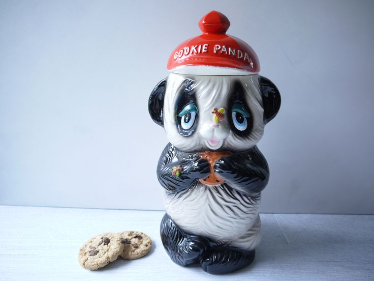 'Cookie Panda' Retro Cookie Jar - Little Black Birdie Vintage. www.littleblackbirdievintage.com.au