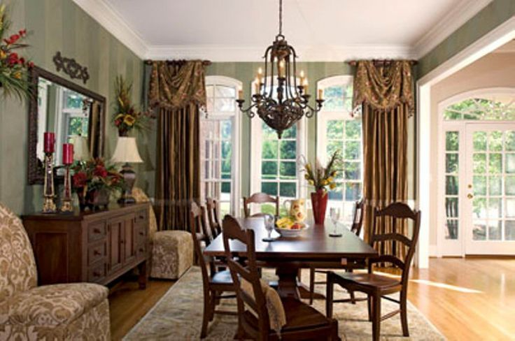 Staged Curtain Dining Room Windows