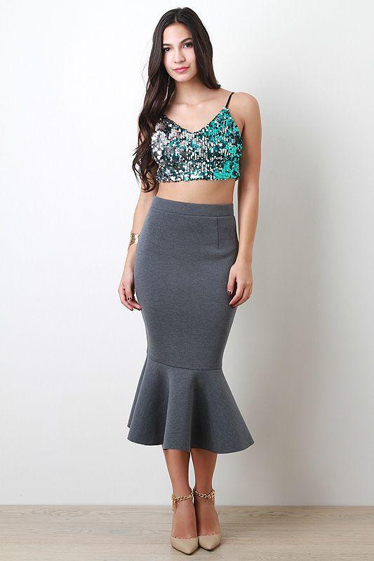 Mermaid Ruffle Midi Skirt