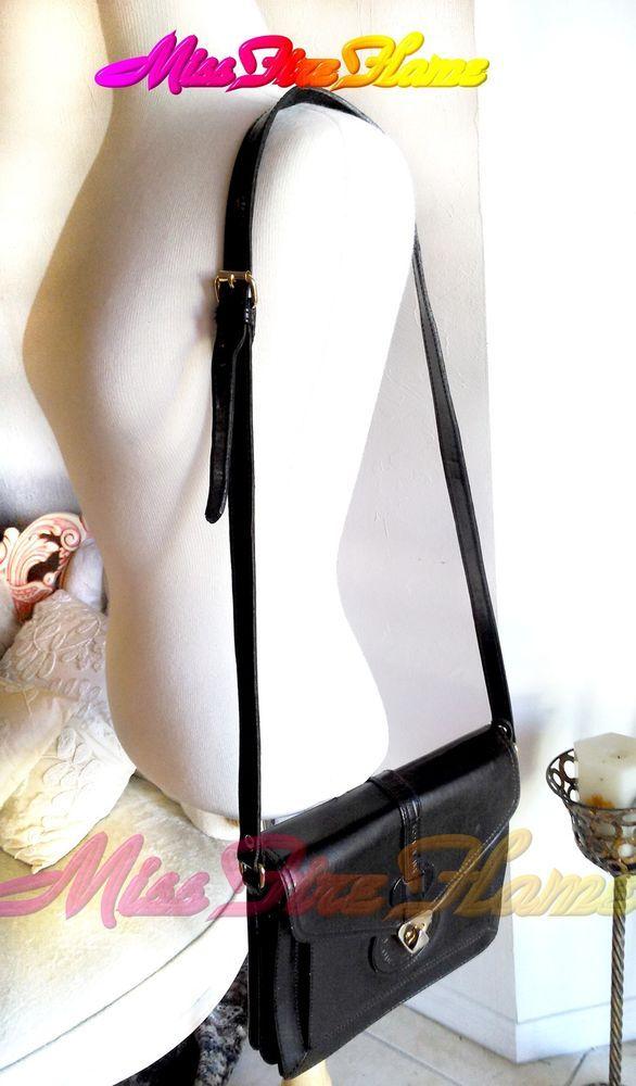 VINTAGE GENUINE LEATHER BLACK CROSSBODY by CROSSBODY Moda Italia SMALL #MODAITALIA #MessengerCrossBody