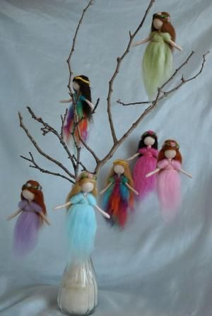 Waldorf inspired needle felted hanging little fairies by lindsay0