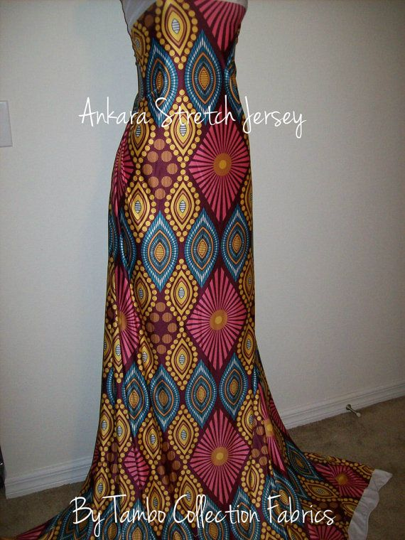 Diamond Print African Jersey stretch fabric per by tambocollection