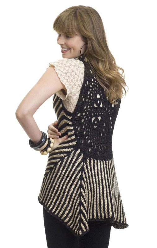 "Free pattern for this fabulous ""Two Tone Vest""!  by Kim Guzman (I've made the medallion, need find yarn for rest)"