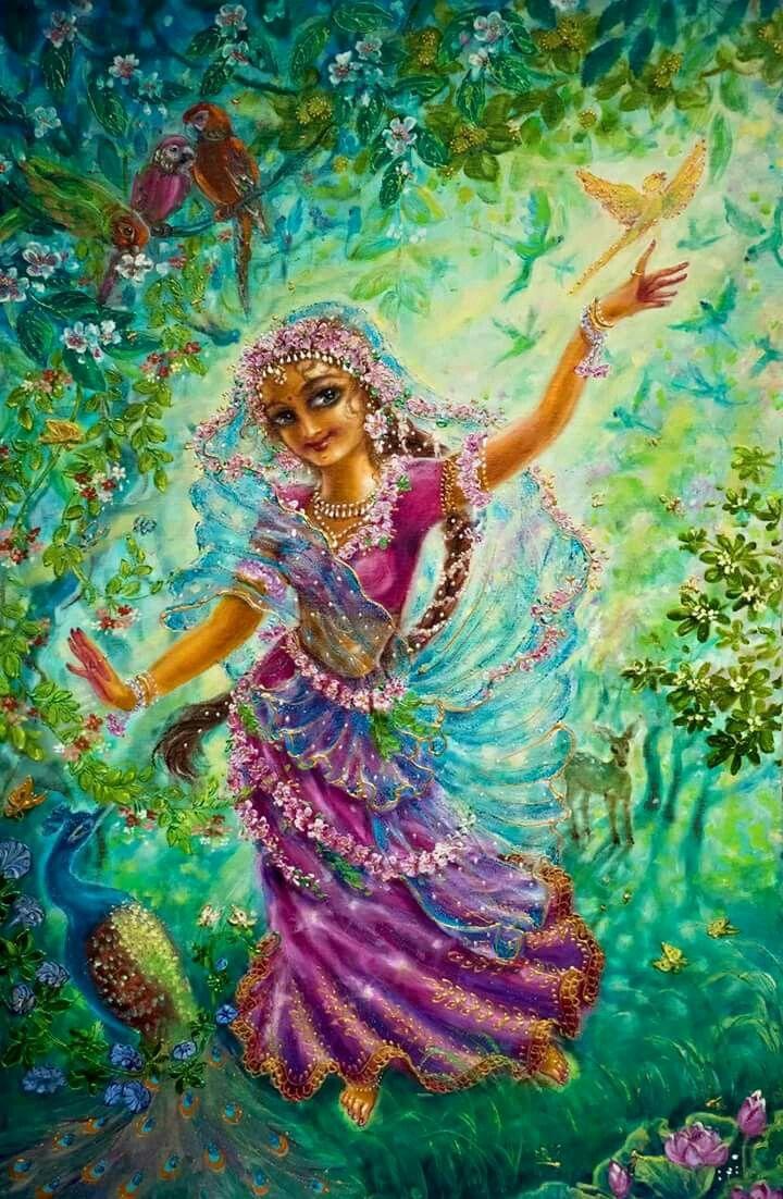 Vrinda Devi, her yellow parrot Daksa & millions of other parrots!