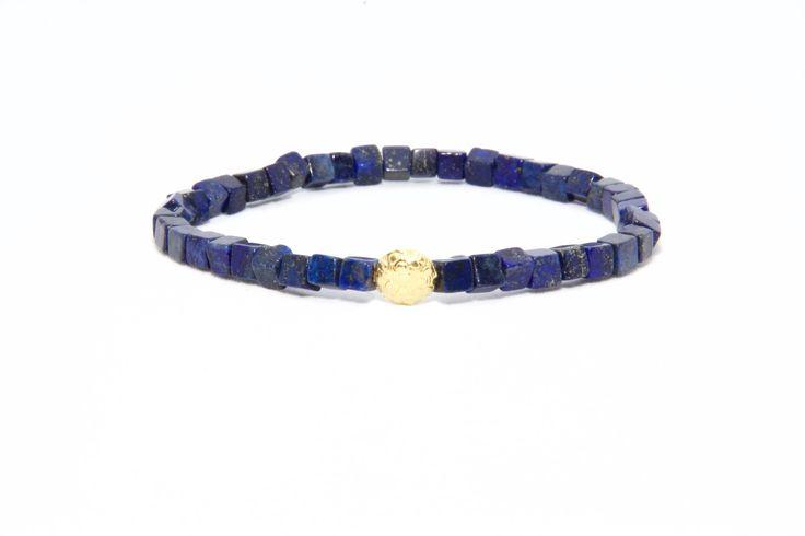 18K Solid Yellow Gold Beaded Bracelet Lapis Lazuli Beads - Men's & Women's Stylish & Unique Bracelets